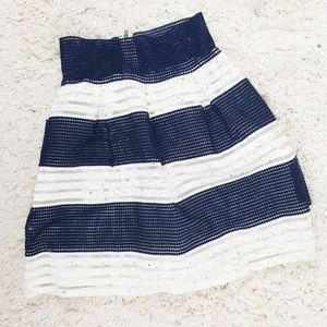 Striped High Waisted Navy and White Skirt